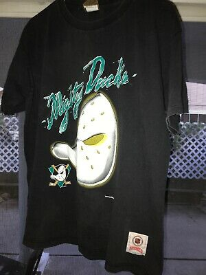 VTG 90s Mighty Ducks NHL Hockey Goalie Mask Graphic T Shirt Disney Nutmeg Mills