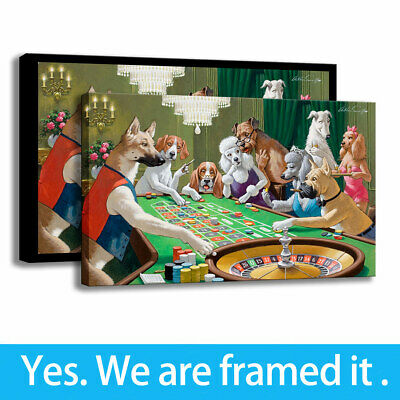 Art Dog Playing Roulette HD Print on Canvas Club Background Wall Decor 16x24