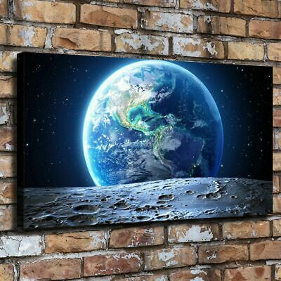 "12""x22""Earth and moon Pictures HD Canvas Prints Paintings Home Decor Wall art"