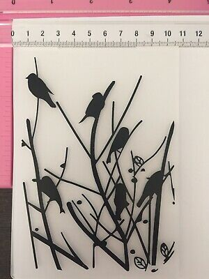 #544 Embossing Folder Sizzix Cuttlebug Spellbinders Compatible ~ Birds In Trees