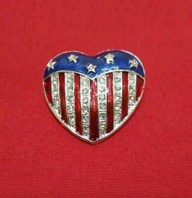 Red White Blue Heart Patriotic American Flag Pin Brooch July 4th Stars Stripes