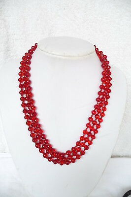 Vintage Deco Flapper Length Hand Knotted Cherry Red Glass Beaded Necklace 150cms