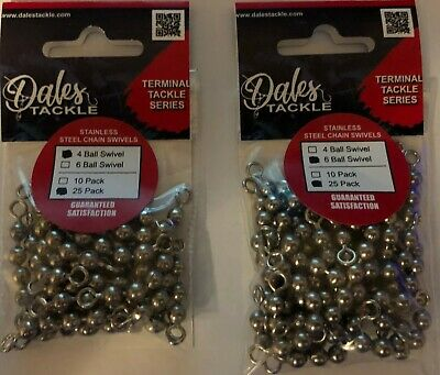 """Bead Chain 4 Ball 2/"""" Stainless Steel Swivel test: 175 lbs., qty: 50pk RB2"""