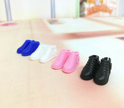BARBIE DOLL SHOES 4 PAIRS of ASSORTED SNEAKERS black pink blue white