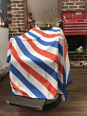barbers cape Hairdressing Hair Tradition Red Blue White Diagonal Strips .