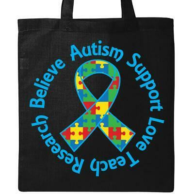 904581c91 Inktastic Autism Spectrum Awareness Support Walk Tote Bag Research Ribbon  Month