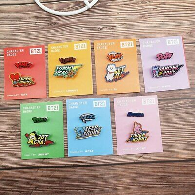 2PCS/SET Cartoon BTS Character Badges Acrylic Brooch Pins Kpop Cute Jewelry Gift