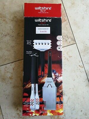 Wiltshire BBQ Cooks Kit, stainless steel 5 year guarantee new in box - tongs etc