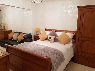 Solid French Oak Sleigh Bed Frame Double 4 Ft 6 Inches