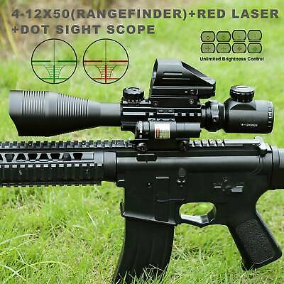 Pinty 4-12X50EG Rangefinder Reticle Riflescope Laser&20mm Rail Dot Sight Scope