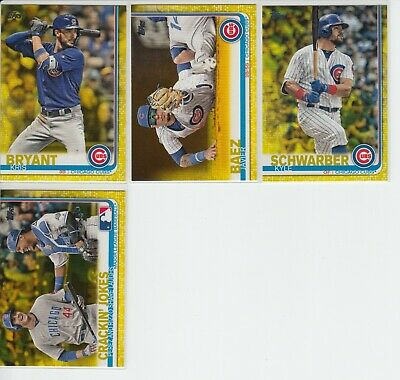 2019 Topps Series 1 Kris Bryant Baez Yellow Parallel Card Lot 4 Cubs Walgreens