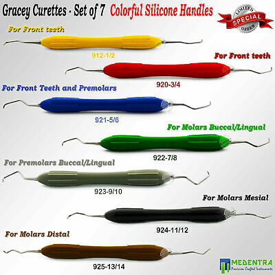 MEDENTRA® Dental Periodontal Gracey Curettes Silicone Colorful Handles Surgical