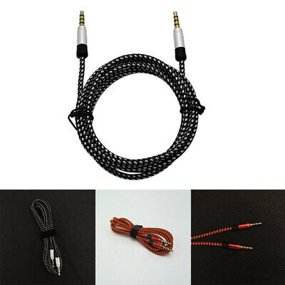 1.5m Braided Nylon 3.5mm Stereo Male To Male Car Aux Auxiliary Audio Cabl TKB