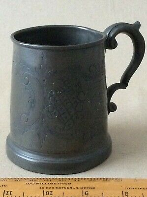 Late Victorian/Edwardian 1/2Pint Pewter Or Epbm Tankard. Glass Bottom.