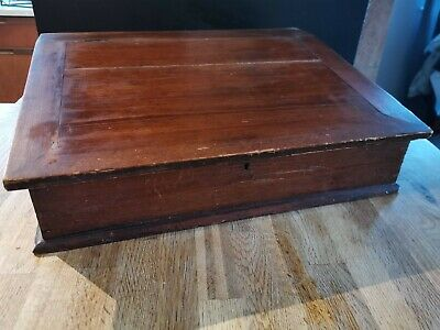 Slant Top Portable Wooden Writing Lap Desk Slope Hinged  - Antique Vintage