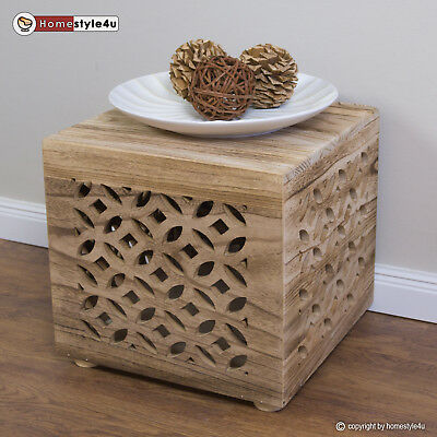 Stool wood cube table bedside table natural cube coffee table storage