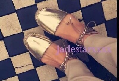 Gold Zara Espadrilles Sandals New 6 39 Flats Shoes Lace Up BNWT