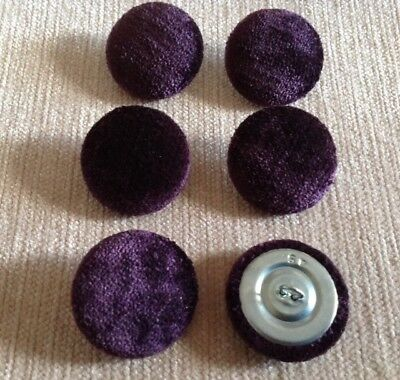 24L 15mm Deep Purple Crushed Velvet Upholstery Fabric Covered Buttons