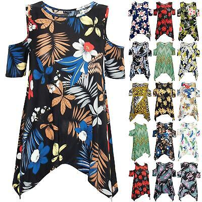UK Womens Cold Cut Shoulder Hanky Hem Baggy Oversized Printed Flared Top T Shirt