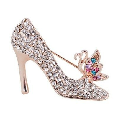1X High-Heeled Shoes Brooch Pin Rhinestone Covered Scarves Shawl Clip For W Y4K2