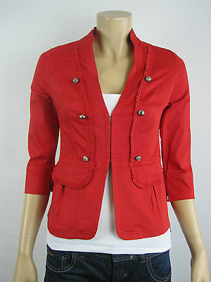 Crossroads Ladies 3/4 Sleeve Military Jacket size 8 10 12 14 16 18 20 22 Red