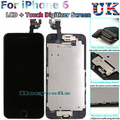 For iPhone 6 LCD Screen Replacement Touch Digitizer Full Assembly Camera Black