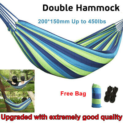2 Person Cotton Rope Camping Hanging Hammock Swing Canvas Bed Outdoor 450Lbs