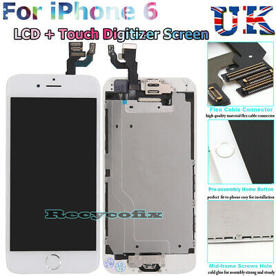 For iPhone 6 LCD Screen Replacement Touch Digitizer Full Assembly Camera White