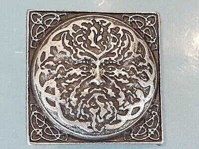 5x CELTIC GREEN MAN 925 ANTIQUE SILVER PLATED concho 37 X 37 mm NEW