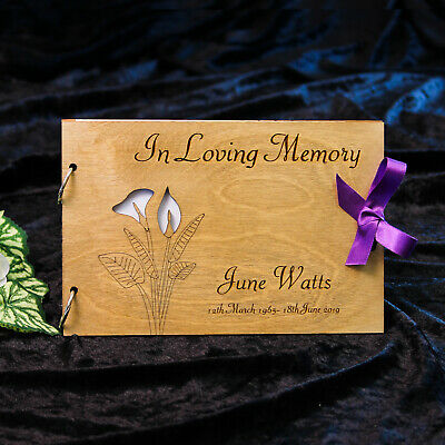 Personalised Condolence Book In Loving Memory Wooden Guest Book ~ Lily Motif