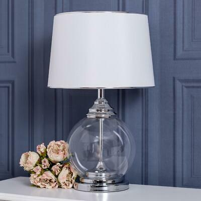 Large White Glass Table Side Lamp Contemporary Modern Hallway Living Bedroom