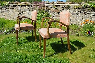 French 1930s/40s Moustache back Bridge chairs x 2 in need of TLC