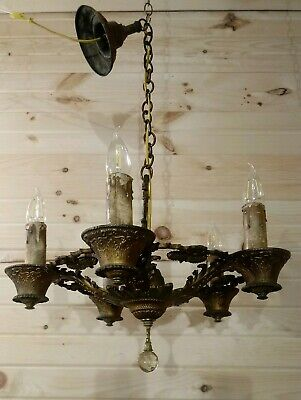 Antique Victorian Chandelier Art Deco Hanging Ceiling 5 Light Fixture Sunflower