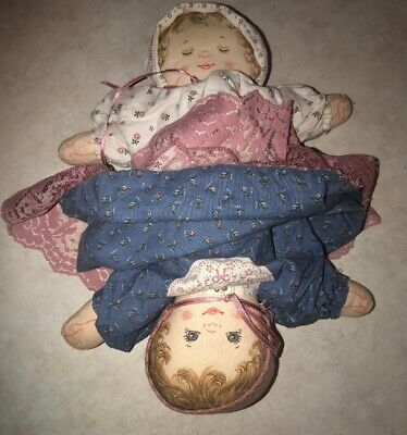"Vintage Cloth Homemade Topsy Turvy Cotton Stuffed Doll 11"" Tall Mom Child"
