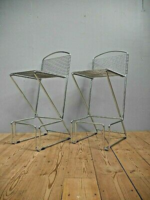 Pair Vintage Mid Century Modern Chrome Bar Stools By Till Behrens For Schlubach