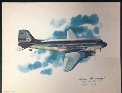 """Nixon Galloway United Airlines Collector Series """"Douglas DC-3"""" 8.5 x 11"""""""