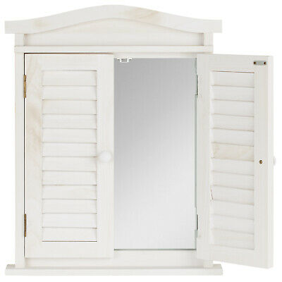 Hartleys White Shabby Chic Vintage Window Shutter Mirror Bedroom/Bathroom/Hall