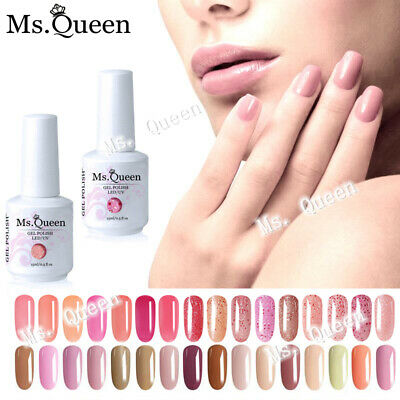 MS.QUEEN Nude/Grey/Diamond Glitter Jelly Gel Polish Varnish Lacquer Top Base