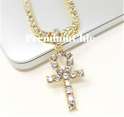 14k Gold ANKH Cross Pendant Tennis Chain Hip Hop Blinged Out Necklace