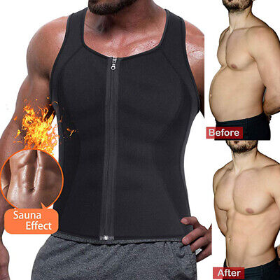 Men's Sweat Vest Body Shaper Zipper Slimming Sauna Tank Top Neoprene Chaleco HOT