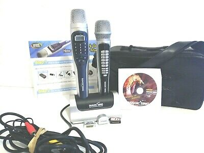 Magic Sing ET13K Karaoke Mic Lot With Extra Mic #EX190 carry bag, song chips CD