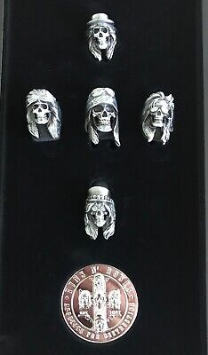 Guns N' Roses Locked Loaded Metal Skull Rings and Silver GNR Appetite Coin NEW