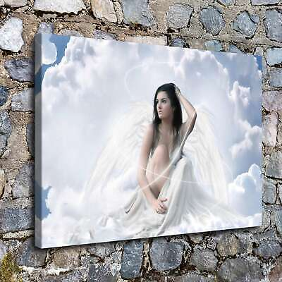 "12""x16""Angel and white clouds HD Canvas Prints Painting Home Room Decor Wall art"