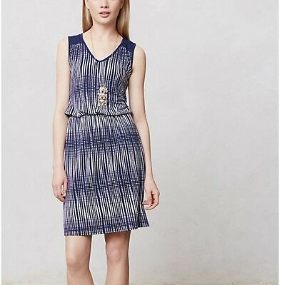 0a7345857713 Deletta XS navy blue white stretch jersey knit dress lined Anthropologie