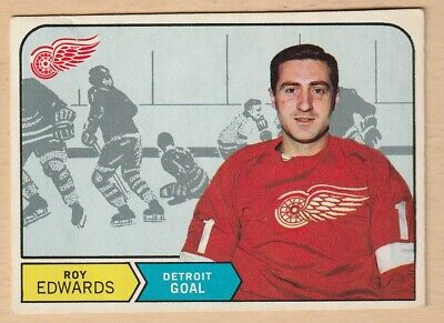 Hockey Card 1968 Roy Edwards  Detroit Red Wings  Very Nice Card  Opc #144