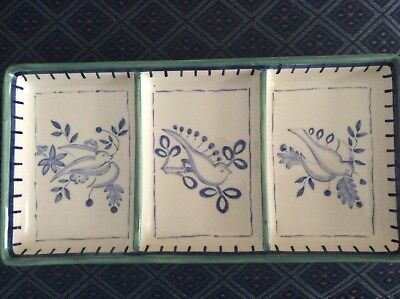 VILLEROY & BOCH Switch 3 Cordoba Faience Divided Dish Tray Doves & Olive Branch