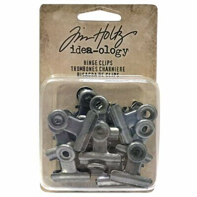 Tim Holtz Idea-Ology - Metal Fasteners - Small Hinge Clips - 15 Pack