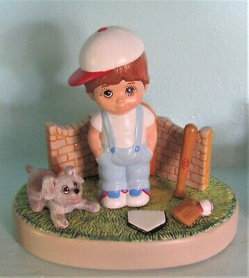 """Ceramic Bisque Hand-Painted """"Sweet Tot"""" Boy W/Ball Cap, 8"""" Tall"""