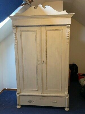 Large Antique Pine French Style Armoire  Wardrobe, Shabby Chic, Matchstick Paint