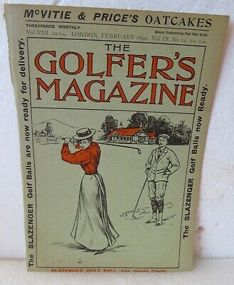 Original 1899 Cover Only-The Golfer's Magazine With Lady Golfer Golf & Ball Ad